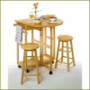 Breakfast Table Set 3 Piece Wooden Kitchen Cart Nook