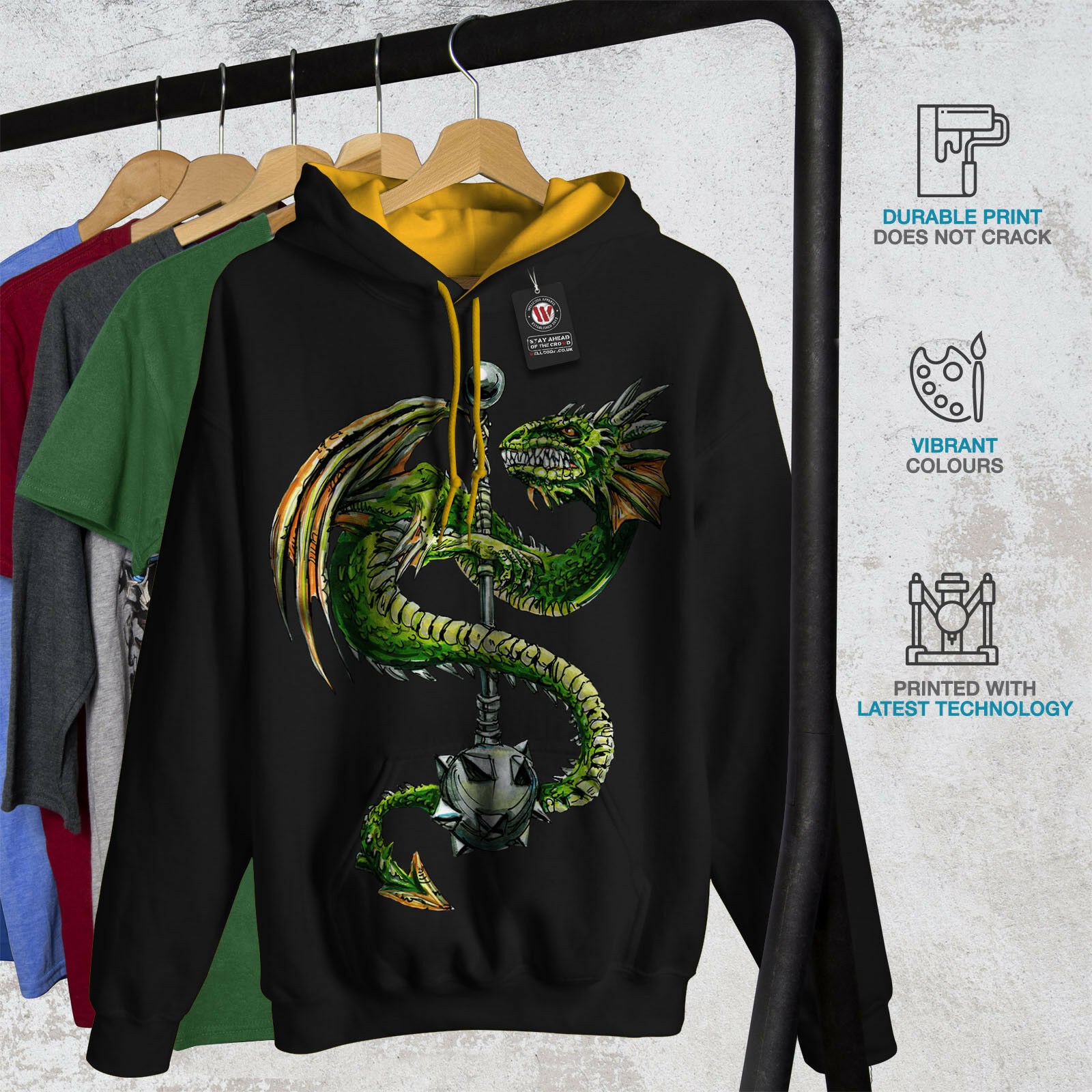Dragon Mace Capuche Cool Fantasy Hommes Contraste à Capuche Mace New 1f49a8