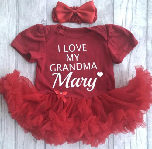 PERSONALISED BABY GIRL/'S I LOVE MY GRANDMA Tutu Romper Dress Present Cute FAMILY