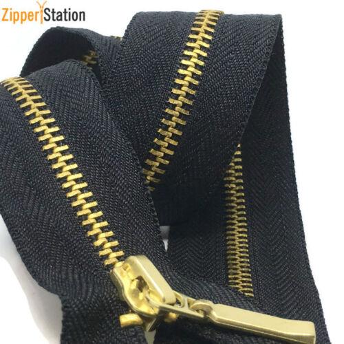 Noir ZIP Avec Métal Or dents 60cms à 10cms fermé fin Nº 3 Laiton Fermetures à glissière
