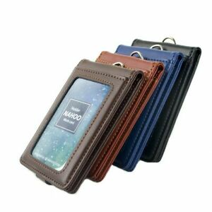 ID-Badge-Holder-Genuine-Leather-Vertical-Case-Card-Name-Tag-Lanyard-Retractable