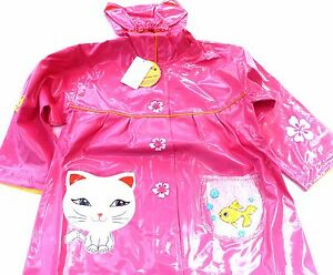 Kidorable-Veste-impermeable-Manteau-LUCKY-Chat-Chat-rose-taille-128-134
