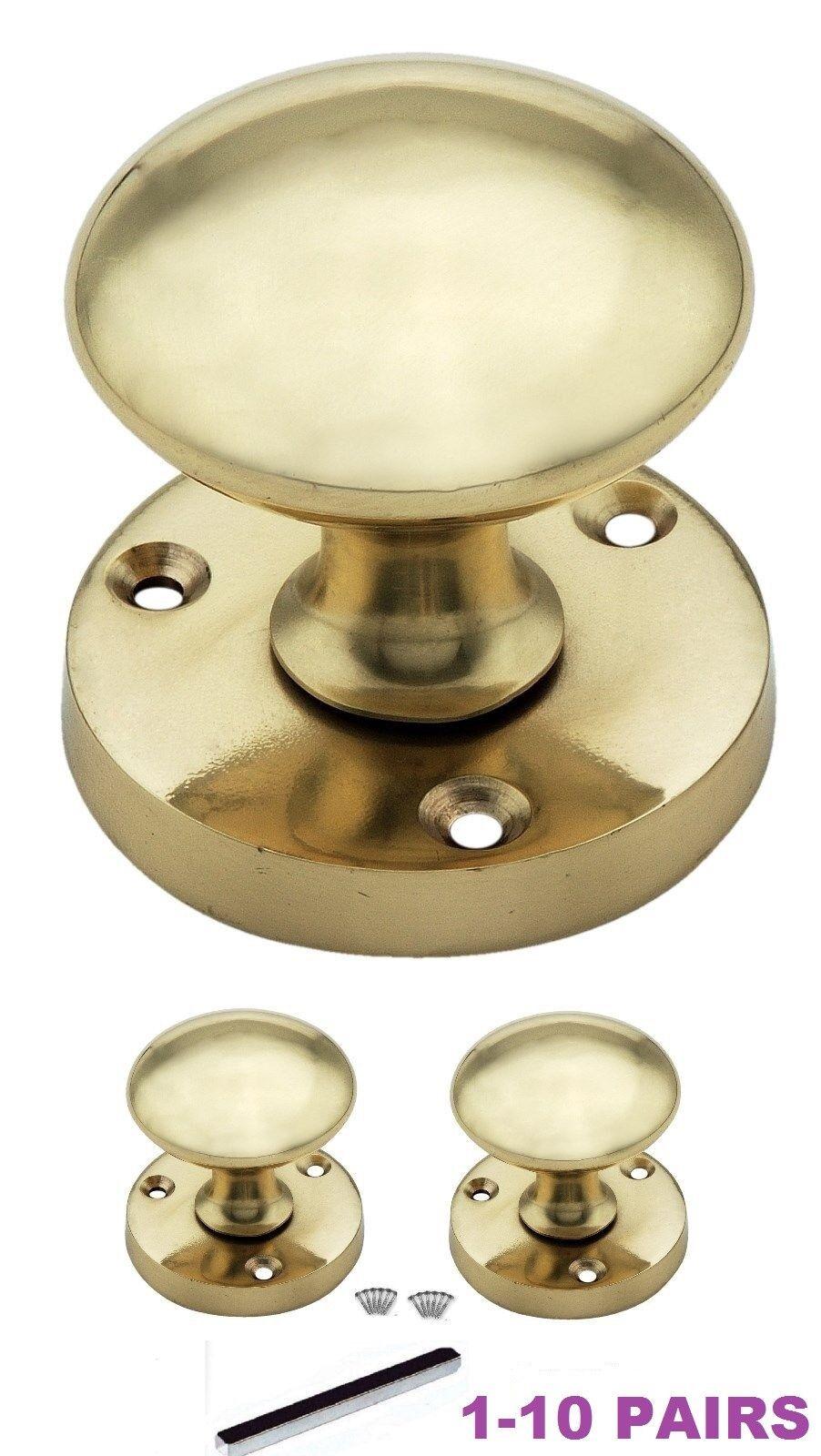 1-10 OPTIONS INTERIOR BRASS Door Handle Knobs SETS 56mm Diameter D27