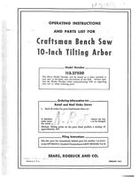 1951 Craftsman 113.27520 10 Tilting Arbor Bench Saw Instructions
