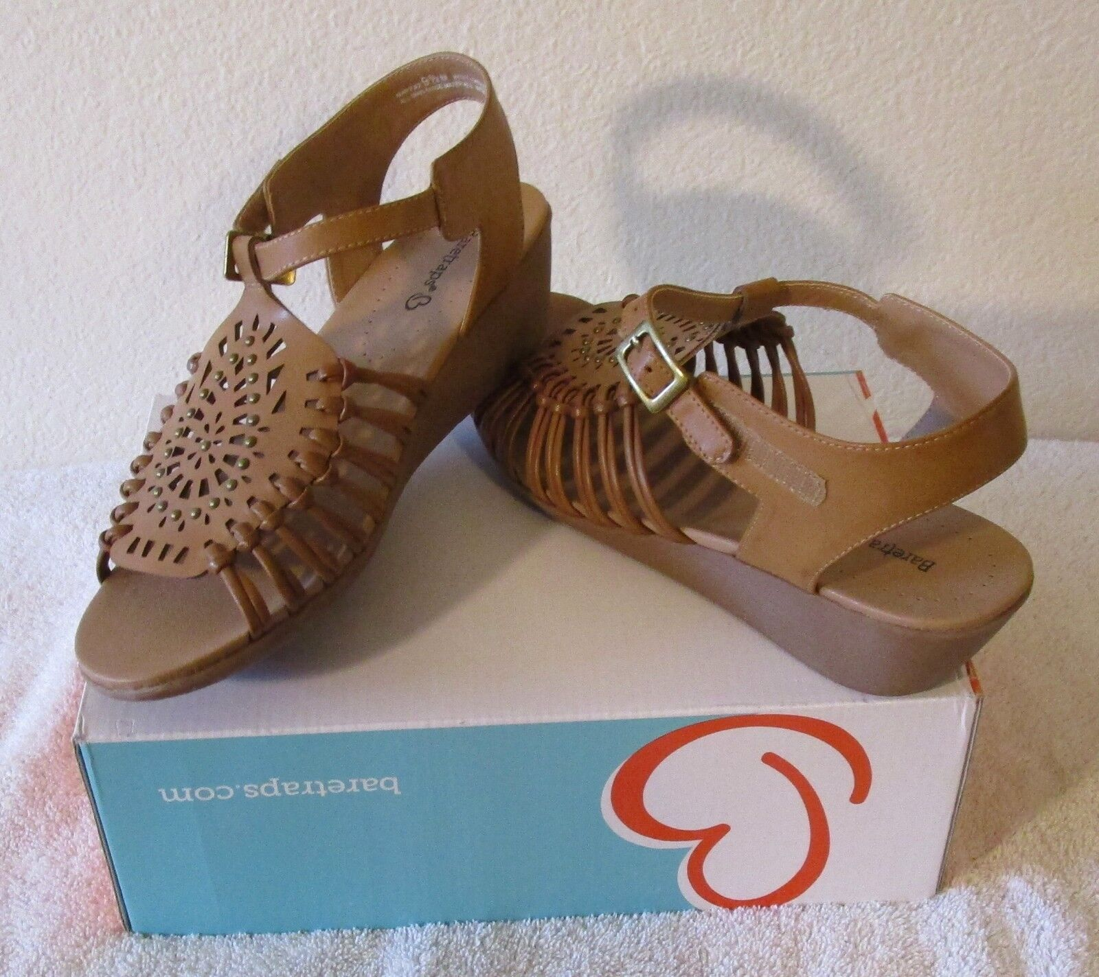 NIB Bare Traps Mary Jo 9.5 Womens Wedge Slide Sandals 9.5 Jo Tan MSRP$70 1ce7f1