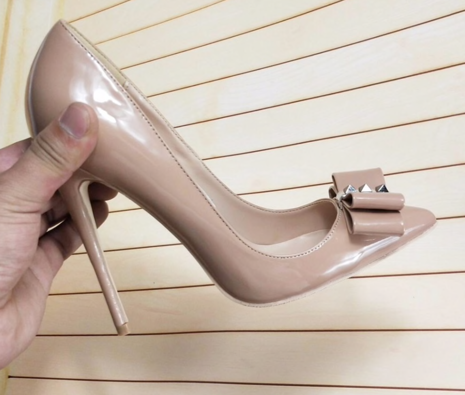 Sexy nude high heel bow detail pointed stiletto pumps 12cm