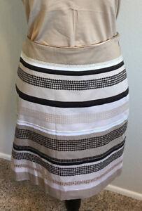 Whitehouseblackmarket W white skirt size paillettes Design Stripe beige brown 10 raARXqwr