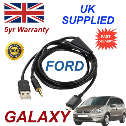 For Ford Galaxy Samsung HTC /& LG Sony Nokia Micro USB /& 3.5mm Aux Audio Cable Bl