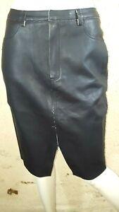 IKKS-WOMEN-Taille-40-Superbe-jupe-doublee-noire-imitation-cuir-black-skirt