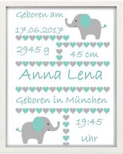 Bilderrahmen-personalisiert-Baby-034-Elefant-034-weiss-Geschenk-Taufe-Geburt