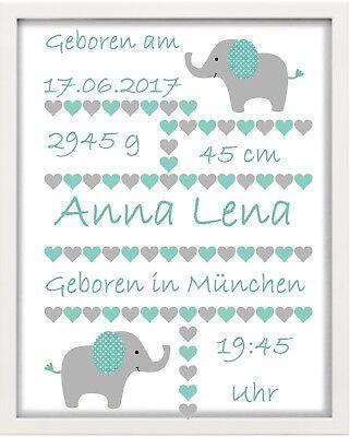 """Bilderrahmen Personalisiert - Baby """"elefant"""" Weiß - Geschenk - Taufe - Geburt"""