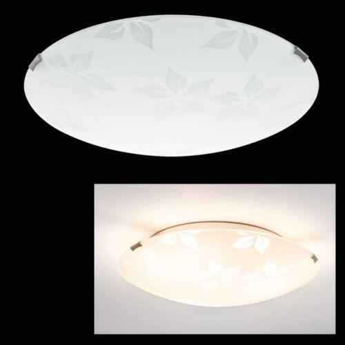 Glas Deckenleuchte Rund Ø280mm Flur Lampe 2x60W max Blumenmuster Leuchte E27