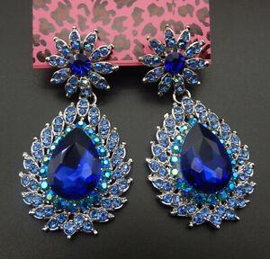 Women-039-s-Blue-Crystal-Rhinestone-Flower-Teardrop-Betsey-Johnson-Stud-Earrings