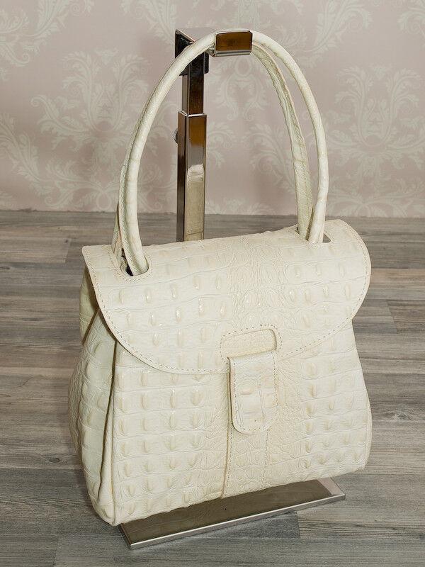 Ital. Abendtasche Hand Damen Trage Tasche echt Leder Leder Leder Alligator Stamp Beige 904BK | Neuer Eintrag  5edfb9