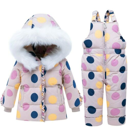 Kids Baby  Thick Warm Toddler  2pcs Hooded Down Jacket+Jumpsuit  Winter Coat