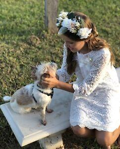 Flower-Girl-Dress-Communion-Confirmation-Vintage-Wedding-Lace-Formal-IVORY-WHITE