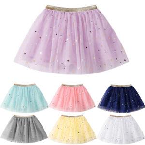 Girls-Kids-Princess-Stars-Sequins-Skirt-Children-Party-Dance-Ballet-Tutu-Skirts