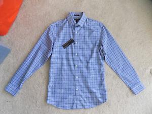NEW-MENS-SMALL-BANANA-REPUBLIC-GRANT-SLIM-STRETCH-BLUE-BLACK-PLAID-DRESS-SHIRT