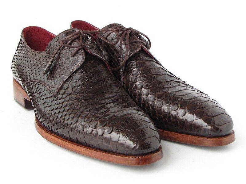 Paul Parkman Men's Marronee Genuine Python(Snakeskin) Derby Hand Made scarpe