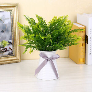 1x-Green-Artificial-Fern-Bouquet-Silk-Plants-Fake-Persian-Leaves-Foliage-Decor