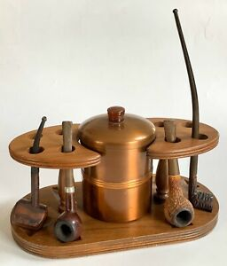 Vintage-Pipe-Rack-Humidor-with-Four-Antique-Pipes-Walnut-with-Bakelite-Knob