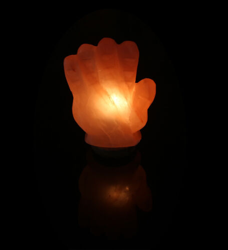 HAND SHAPE WDL 100/% NATURAL CURVED SALT LAMP BODY PURIFIER WITH CORD BULB