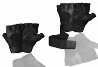 Kango Fitness Padded Long Wrist Wrap Weight Lifting Leather Gloves W-1045a