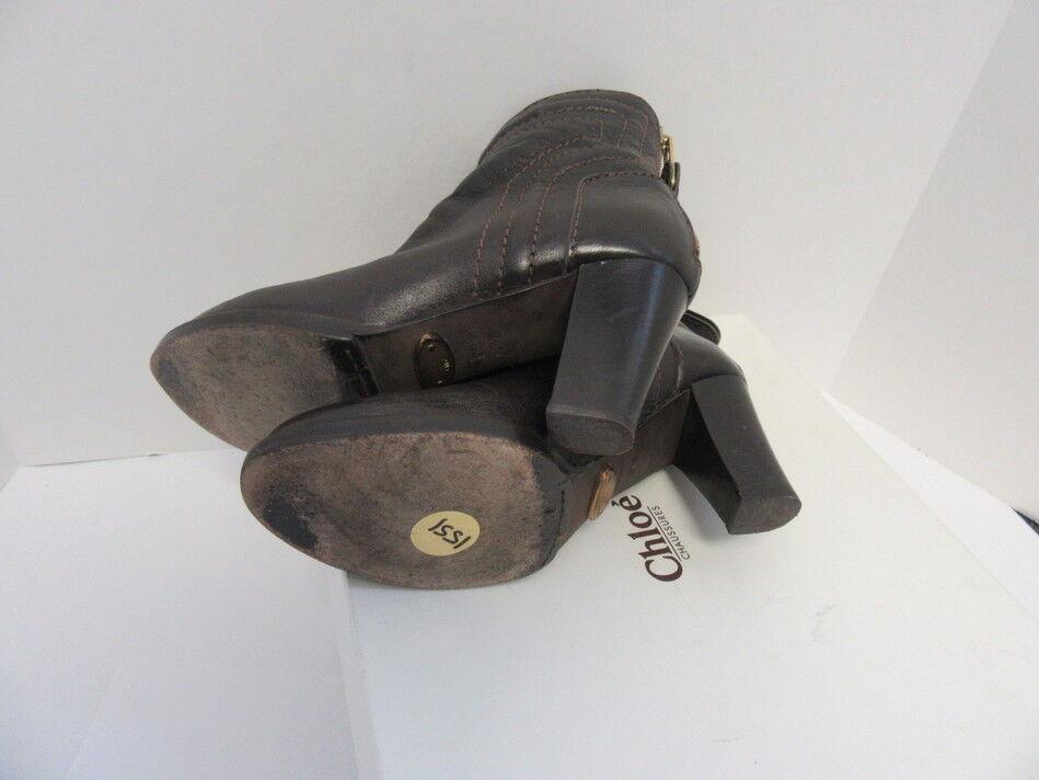 CHLOE braun DISTRESSED DISTRESSED DISTRESSED LEATHER ANKLE Stiefel SZ 36.5 a890f8