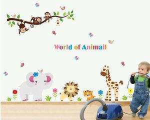 Arbre Fleurs Singe Girafe Lion Salle De Bains Chambre Wall Stickers, Stickers Muraux-afficher Le Titre D'origine