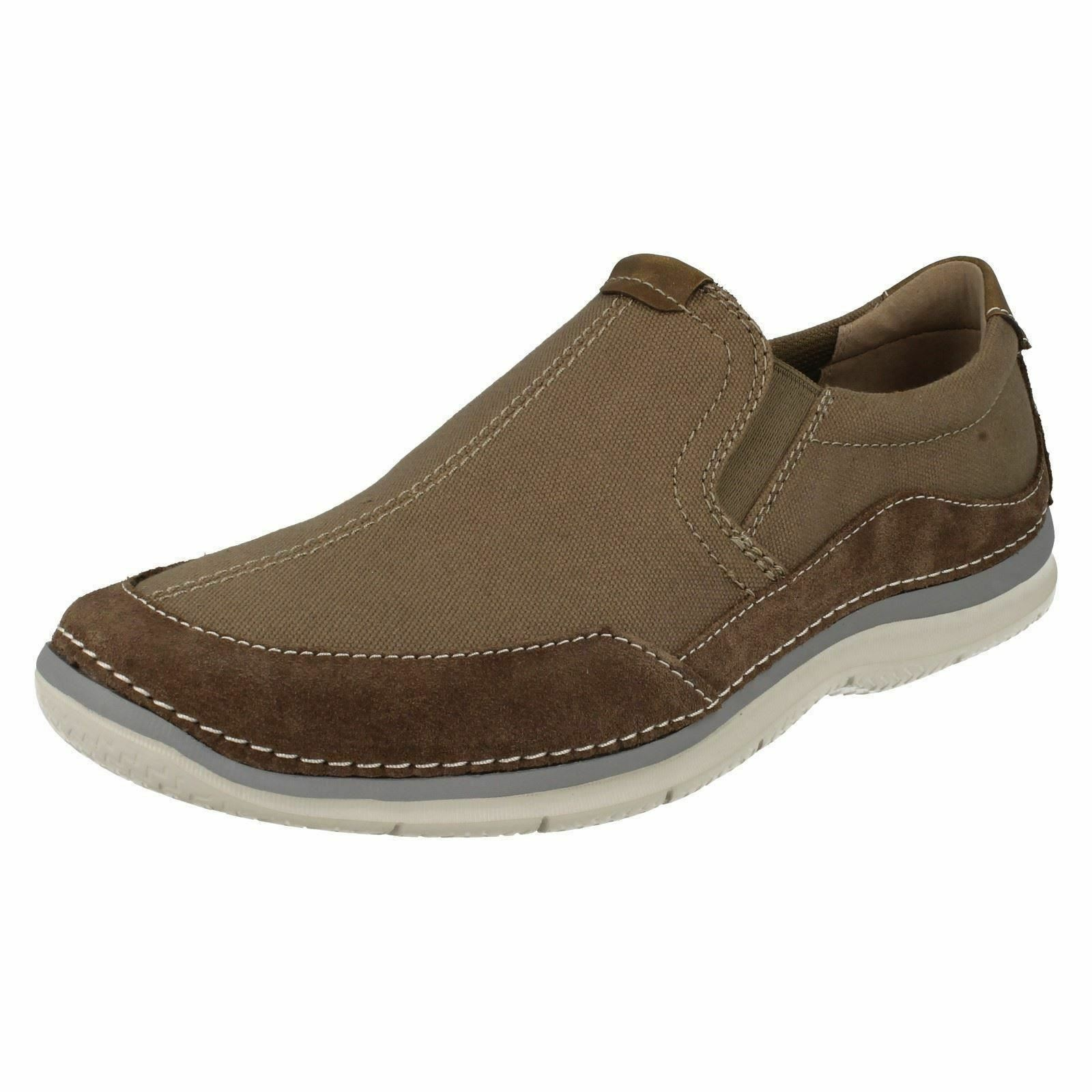SALE Mens Clarks Olive Canvas Slip On shoes G Fitting Ripton Free