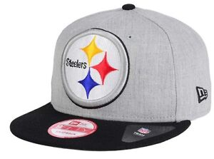 buy popular 37e4d 6c8cd Image is loading Pittsburgh-Steelers-New-Era-9Fifty-Heather-Grand-Logo-