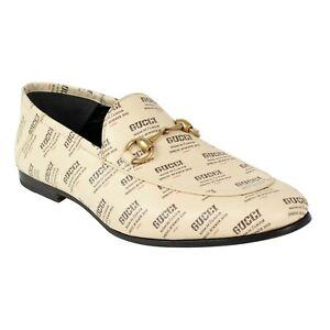 e90e14a62e1 NIB GUCCI Ivory Leather Stamp Print Brixton Loafers Shoes Size 9.5 ...