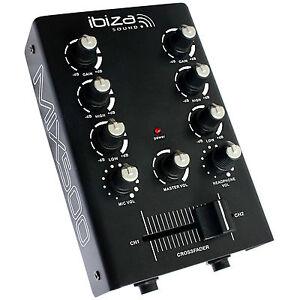 IBIZA-MIX500-2Kanal-Mini-Mischpult-Mixer-Audio-DJ-Sound-Equalizer-Crossfader-NEU