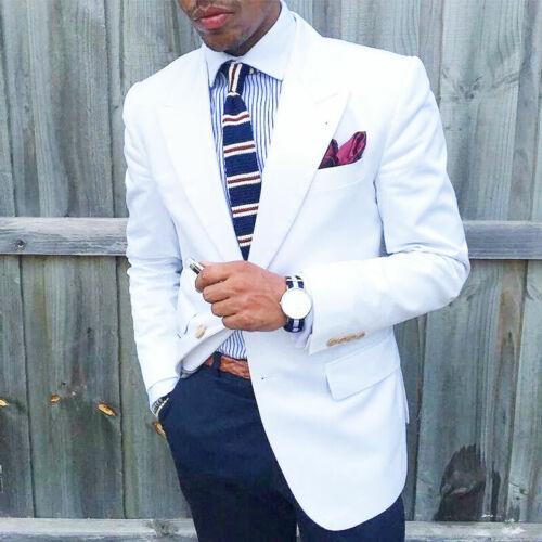 Blazer Formale Bianco Peak Bavero Men/'s wedding sposo testimone Festa Smoking Slim