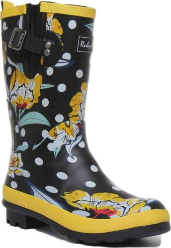 Ruby Shoo Hermiones Womens Rubber Long Rain Boots In Black Floral Size UK 3-8