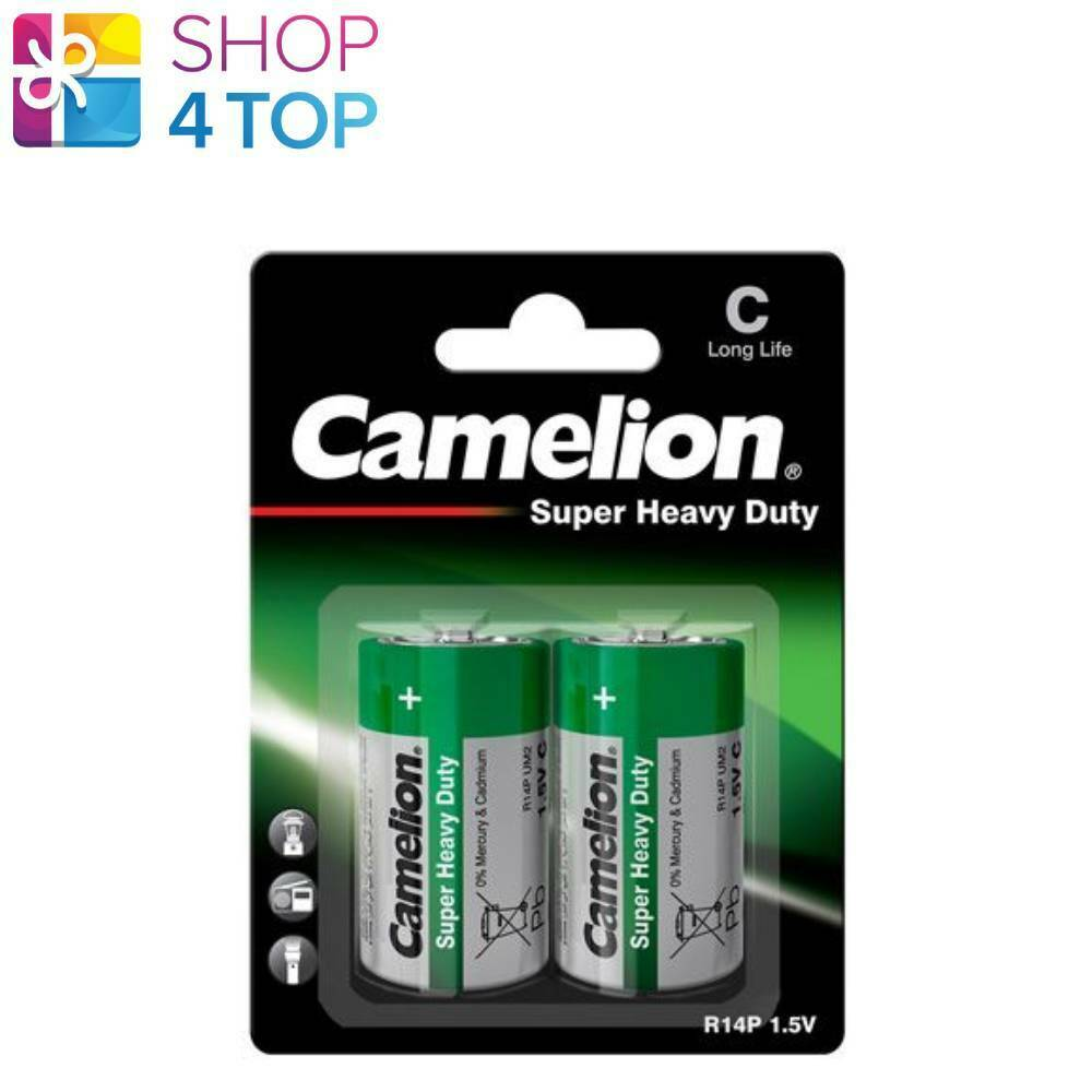 2 Camelion C Batteries R14P Long Life Super Heavy Duty 1.5V UM2 2500mAh 2BL New