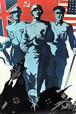 WW2 - Repro affiche soviétique - Les Alliés contre Hitler