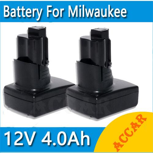 2X Battery For Milwaukee 12V M12 Li-ion 4.0Ah 48-11-2401 48-11-2402 C12B C12BX