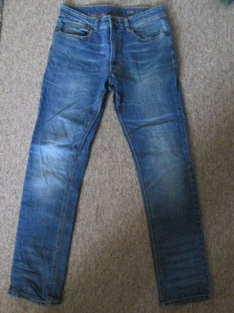 F&F - DISTRESSED BLUE ZIP FLY STRIGHT LEG Jeans Size 30/30