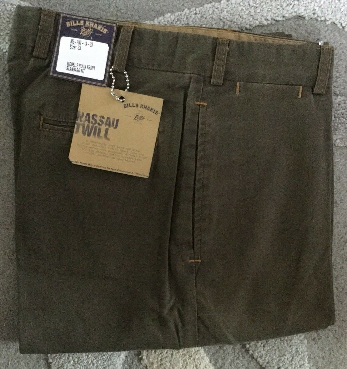 NWT Bills Khakis M2-FNT Cotton lyocell NASSAU TWILL SOFT Fawn sz 33 MSRP