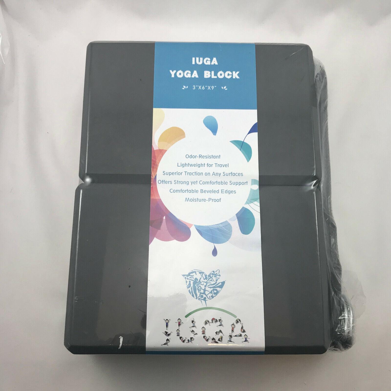 2PC Iuga Yoga Block 3″ x 6″ x 9″ with Metal D Ring Yoga Strap Gray New R34A