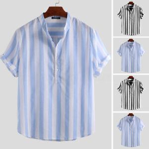 Summer Mens Vintage Cotton Linen T Shirts Stripe Casual V-Neck Loose  Kaftan Top