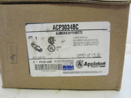 APPLETON ACP3034BC 30 AMP 3W 4P PLUG NEW IN BOX  MATES W// ADR3034