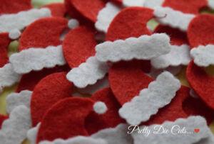 Felt Mini Santa Hats Pack Of 10 Christmas Craft Embellishments Ebay