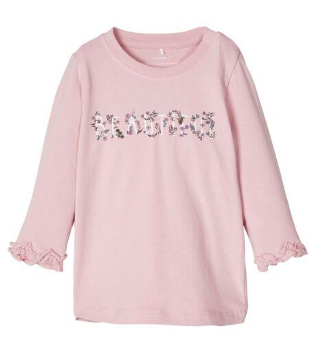 name it Baby  Langarmshirt Gr.56-86 rosa Schriftzug langarm Pullover neu!