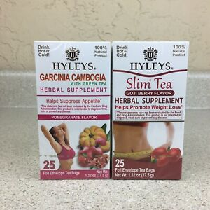 2 Mixed Hyleys Natural Slim Green Tea Garcinia Cambogia