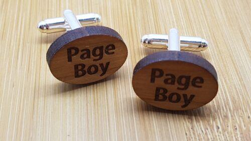 Best Man Usher Page Boy Cuff link Gift Wooden Wedding Cufflinks Groom