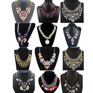 CHIC-Fashion-Pendant-Chain-Crystal-Choker-Chunky-Statement-Bib-Necklace-Jewelry