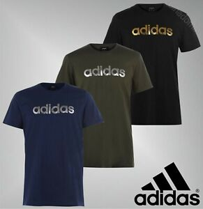Mens-Adidas-Short-Sleeves-Crew-Cotton-Linear-Foil-T-Shirt-Sizes-from-S-to-XXL