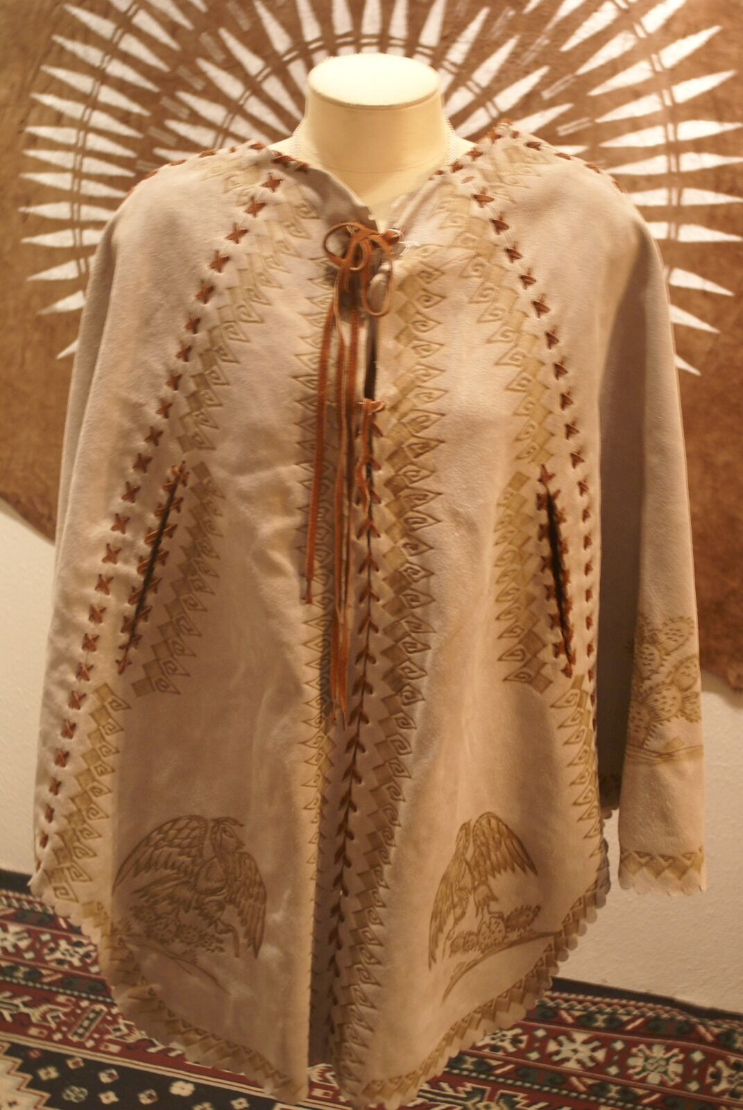 Beige suede and leather stenciled poncho women's size S